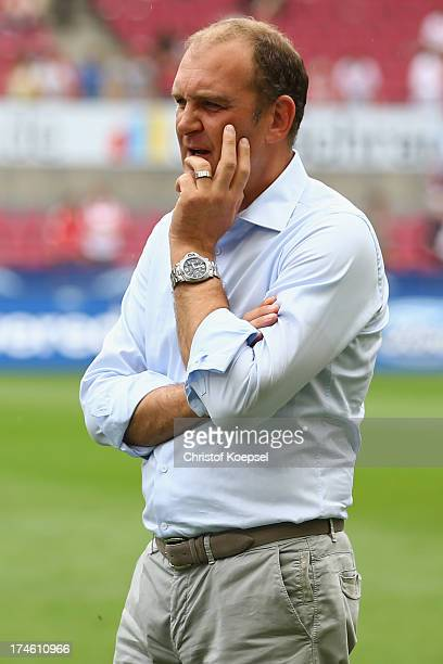 Manager Joerg Schmadtke of Koeln looks on prior to the Second Bundesliga match between 1 FC Koeln and Fortuna Duesseldorf at RheinEnergieStadion on...