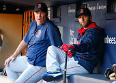 Manager John Farrell and Dustin Pedroia of the Boston Red Sox look on before a game against the New York Yankees at Yankee Stadium on August 4 2015...
