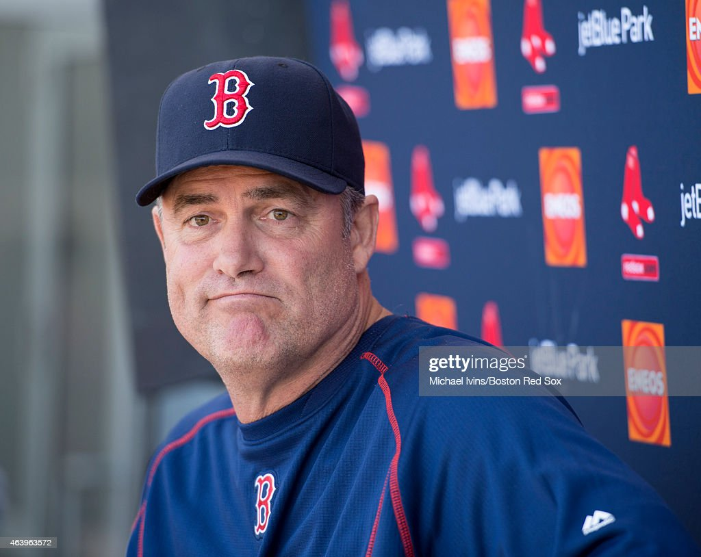 Manager <a gi-track='captionPersonalityLinkClicked' href=/galleries/search?phrase=John+Farrell+-+Honkbalmanager&family=editorial&specificpeople=10307520 ng-click='$event.stopPropagation()'>John Farrell</a> of the Boston Red Sox addresses the media at Fenway South in Fort Myers, Florida on February 20, 2015.