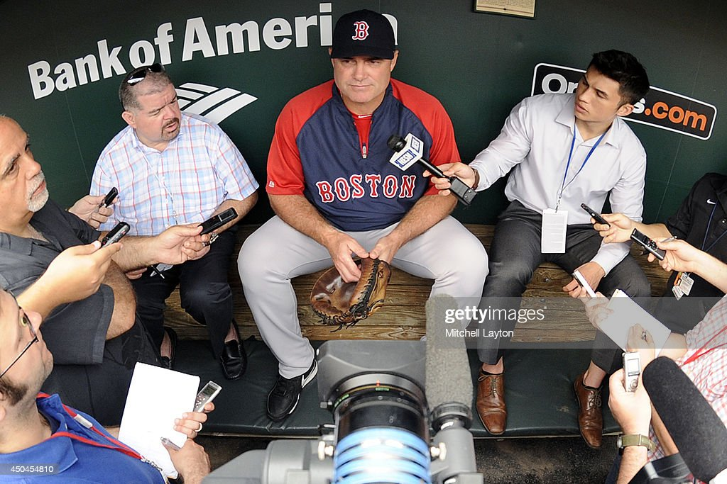 Manager John Farrell #53 of the Boston Red Sox addresses the media before a baseball game against the Baltimore Orioles on June 11, 2014 at Oriole Park at Camden Yards in Baltimore, Maryland.