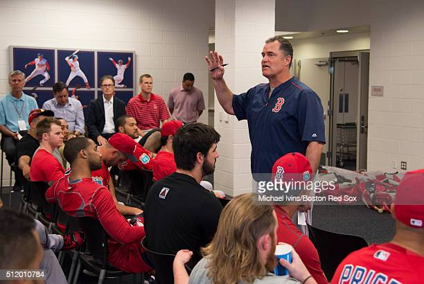 Manager John Farrell of the Boston Red Sox addresses the team before the first full team workout of Spring Training on February 24 2016 at Fenway...