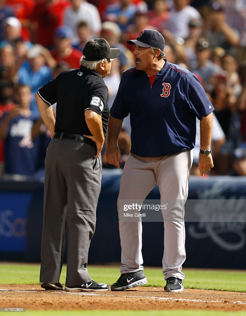 Manager <a gi-track='captionPersonalityLinkClicked' href=/galleries/search?phrase=John+Farrell+-+Honkbalmanager&family=editorial&specificpeople=10307520 ng-click='$event.stopPropagation()'>John Farrell</a> #53 of the Boston Red Sox argues with first base umpire <a gi-track='captionPersonalityLinkClicked' href=/galleries/search?phrase=Larry+Vanover&family=editorial&specificpeople=200706 ng-click='$event.stopPropagation()'>Larry Vanover</a> #27 in the seventh inning during the game against the Atlanta Braves at Turner Field on June 17, 2015 in Atlanta, Georgia.