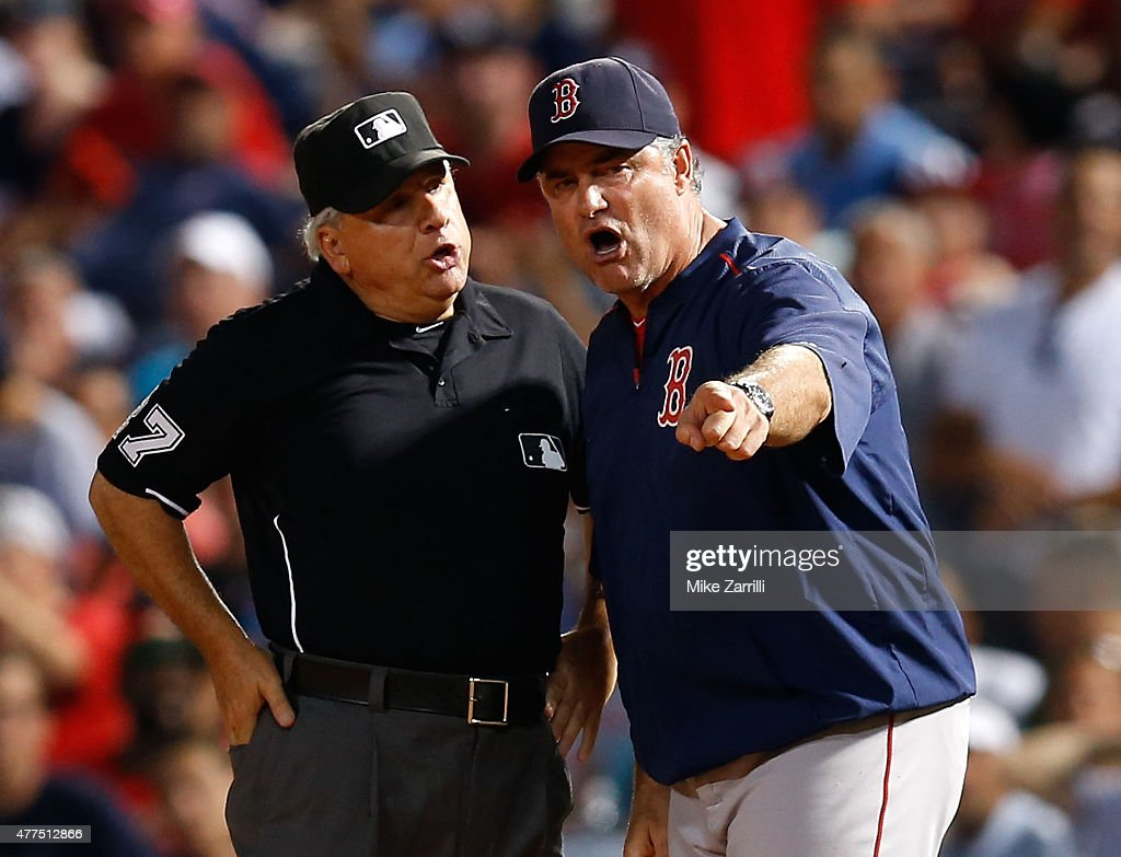 Manager <a gi-track='captionPersonalityLinkClicked' href=/galleries/search?phrase=John+Farrell+-+Baseball+Manager&family=editorial&specificpeople=10307520 ng-click='$event.stopPropagation()'>John Farrell</a> #53 of the Boston Red Sox argues with first base umpire <a gi-track='captionPersonalityLinkClicked' href=/galleries/search?phrase=Larry+Vanover&family=editorial&specificpeople=200706 ng-click='$event.stopPropagation()'>Larry Vanover</a> #27 in the seventh inning during the game against the Atlanta Braves at Turner Field on June 17, 2015 in Atlanta, Georgia.