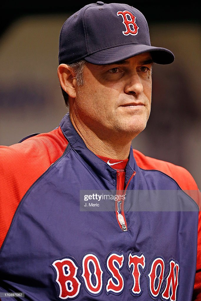 Manager John Farrell #53 of the Boston Red Sox directs his team against the Tampa Bay Rays during the game at Tropicana Field on June 12, 2013 in St. Petersburg, Florida.