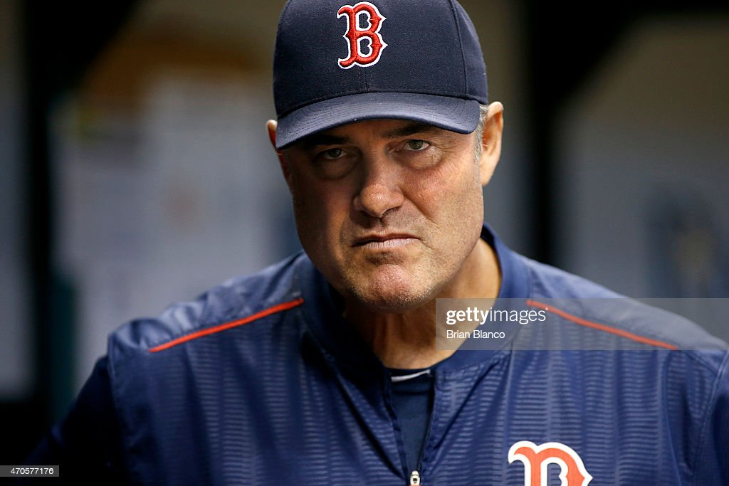 Manager <a gi-track='captionPersonalityLinkClicked' href=/galleries/search?phrase=John+Farrell+-+Baseball+Manager&family=editorial&specificpeople=10307520 ng-click='$event.stopPropagation()'>John Farrell</a> #53 of the Boston Red Sox looks on from the dugout during the second inning of a game against the Tampa Bay Rays on April 21, 2015 at Tropicana Field in St. Petersburg, Florida.