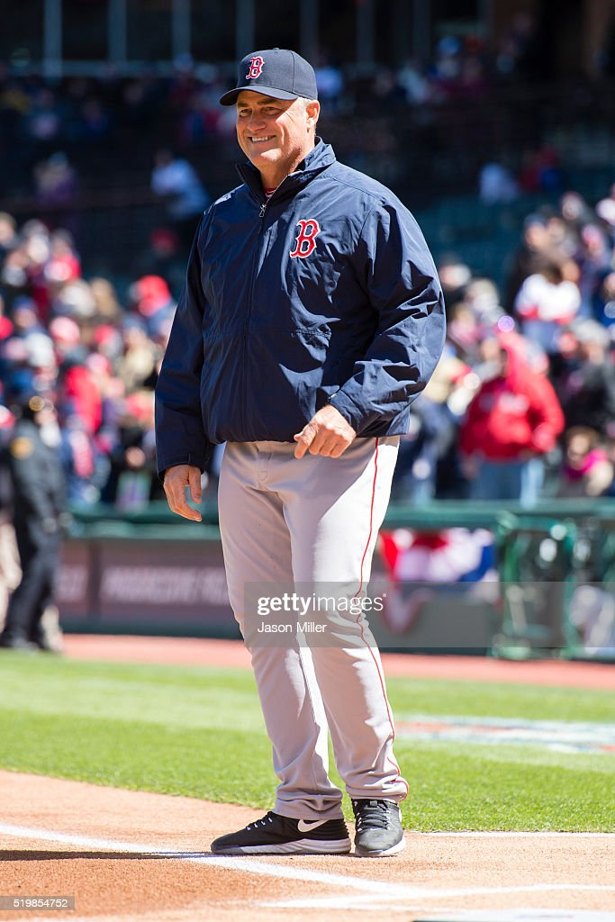 Manager <a gi-track='captionPersonalityLinkClicked' href=/galleries/search?phrase=John+Farrell+-+Treinador+de+basebol&family=editorial&specificpeople=10307520 ng-click='$event.stopPropagation()'>John Farrell</a> #53 of the Boston Red Sox on the field prior to the game against the Cleveland Indians the opening day game at Progressive Field on April 5, 2016 in Cleveland, Ohio.