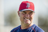 Manager John Farrell of the Boston Red Sox reacts during a team workout on March 1 2016 at Fenway South in Fort Myers Florida