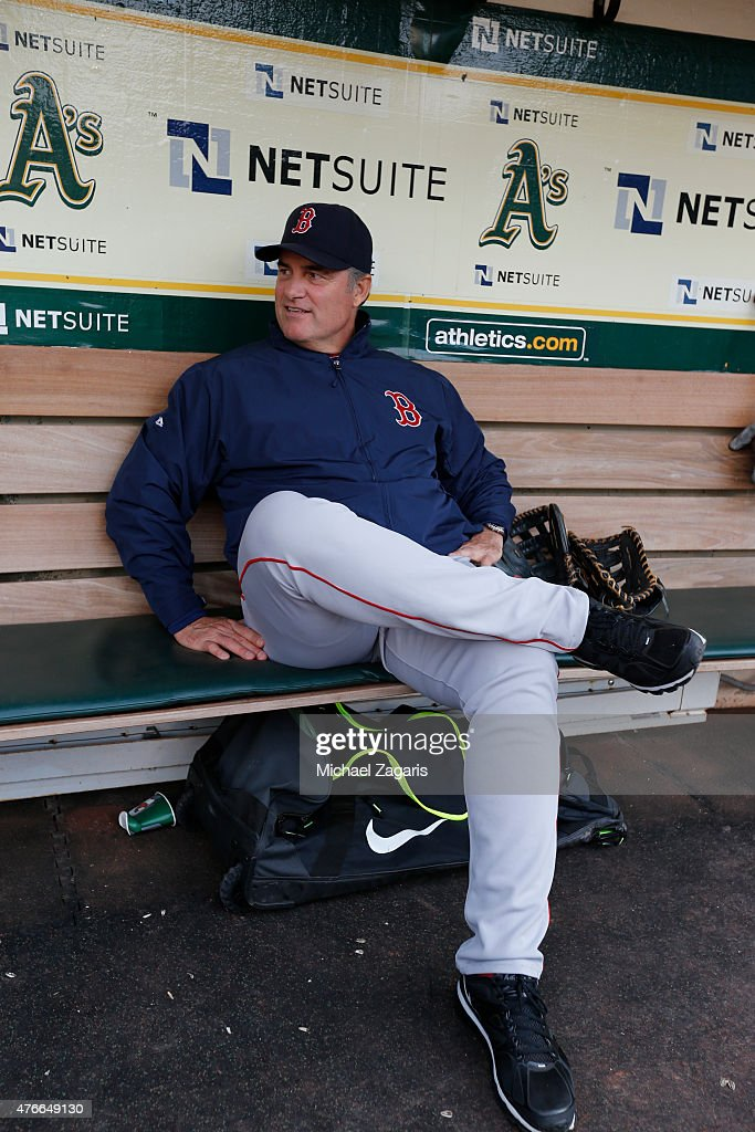 Manager <a gi-track='captionPersonalityLinkClicked' href=/galleries/search?phrase=John+Farrell+-+Baseball+Manager&family=editorial&specificpeople=10307520 ng-click='$event.stopPropagation()'>John Farrell</a> #53 of the Boston Red Sox sits in the dugout prior to the game against the Oakland Athletics at O.co Coliseum on May 11, 2015 in Oakland, California. The Red Sox defeated the Athletics 5-4.