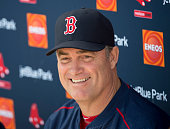 Manager John Farrell of the Boston Red Sox smiles during a press conference announcing his contract extention at Fenway South on February 21 2015 in...