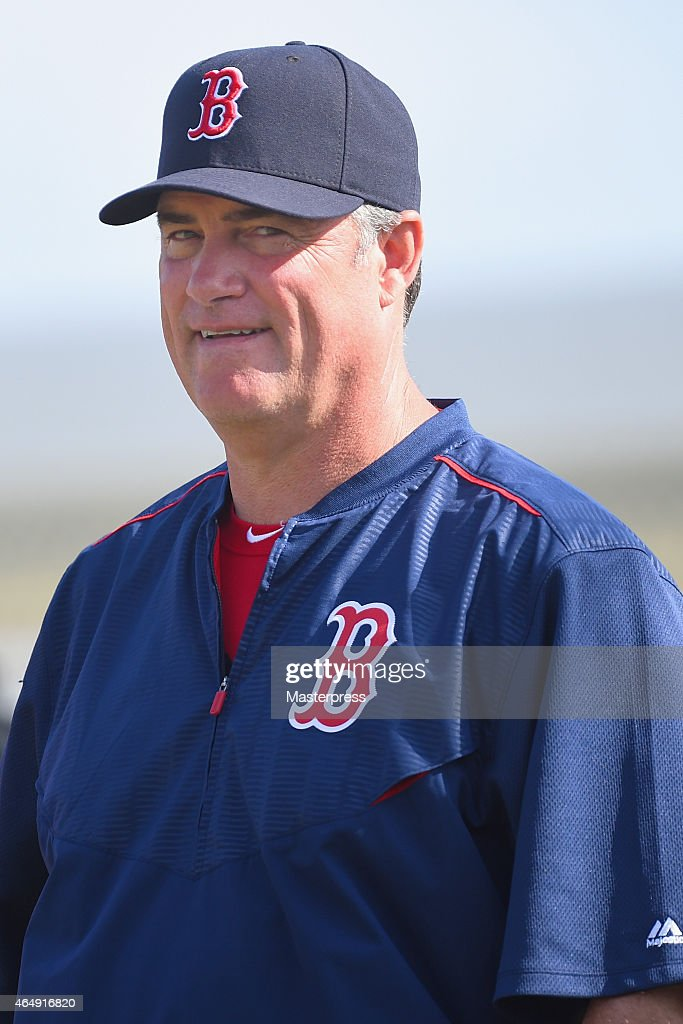 Manager <a gi-track='captionPersonalityLinkClicked' href=/galleries/search?phrase=John+Farrell+-+Baseball+Manager&family=editorial&specificpeople=10307520 ng-click='$event.stopPropagation()'>John Farrell</a> #53 of the Boston Red Sox smiles during the Boston Red Sox Spring Training at Fenway South on March 1, 2015 in Fort Myers, Florida.