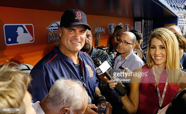 Manager John Farrell of the Boston Red Sox speaks with reporters before the Red Sox met the Miami Marlins at Marlins Park on August 11 2015 in Miami...