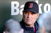 Manager John Farrell of the Boston Red Sox talks with the media before the game against the Baltimore Orioles at Oriole Park at Camden Yards on April...
