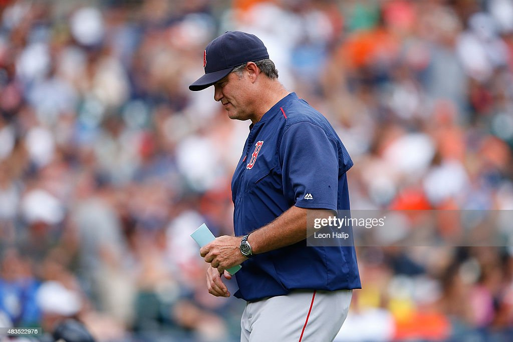Manager <a gi-track='captionPersonalityLinkClicked' href=/galleries/search?phrase=John+Farrell+-+Honkbalmanager&family=editorial&specificpeople=10307520 ng-click='$event.stopPropagation()'>John Farrell</a> #53 of the Boston Red Sox walks back to the dugout during the eight inning of the game against the Detroit Tigers on August 9, 2015 at Comerica Park in Detroit, Michigan. The Red Sox defeated the Tigers 7-2.