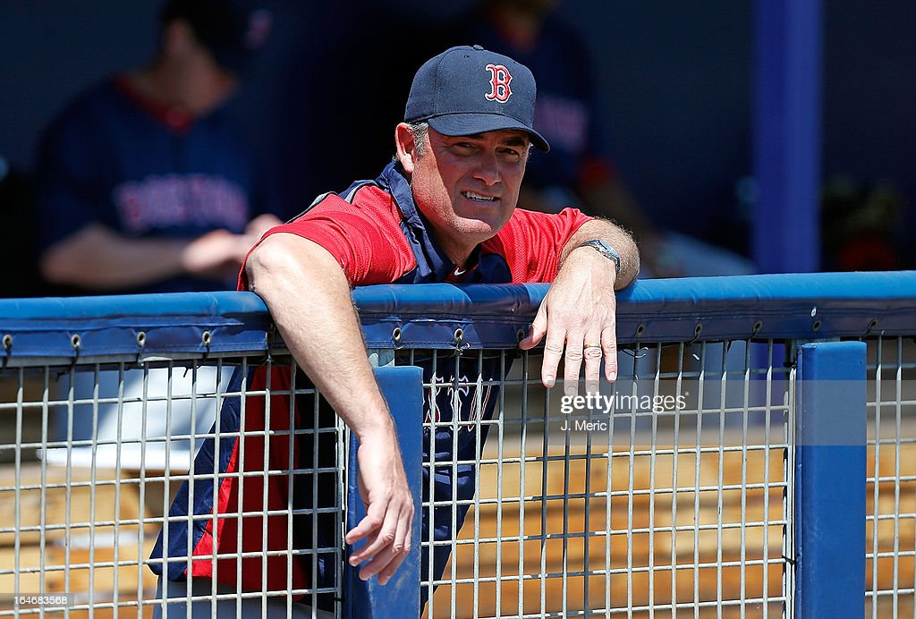 Manager John Farrell #53 of the Boston Red Sox watches his team against the Tampa Bay Rays during a Grapefruit League Spring Training Game at the Charlotte Sports Complex on March 16, 2013 in Port Charlotte, Florida.
