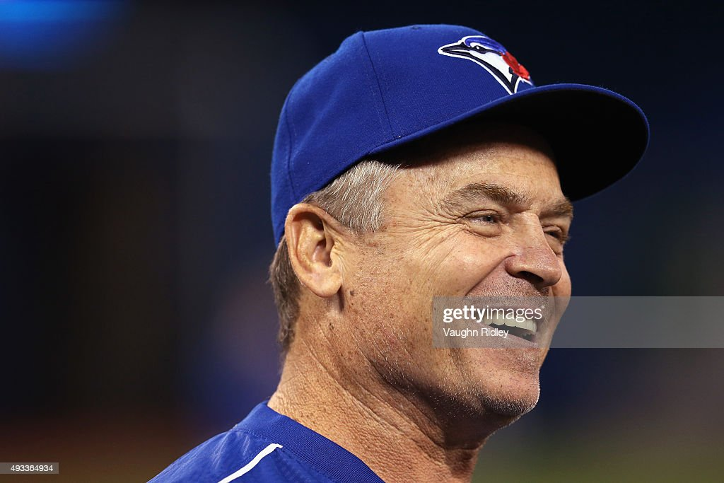 Manager <a gi-track='captionPersonalityLinkClicked' href=/galleries/search?phrase=John+Gibbons&family=editorial&specificpeople=218120 ng-click='$event.stopPropagation()'>John Gibbons</a> #5 of the Toronto Blue Jays looks on prior to game three of the American League Championship Series between the Toronto Blue Jays and the Kansas City Royals at Rogers Centre on October 19, 2015 in Toronto, Canada.