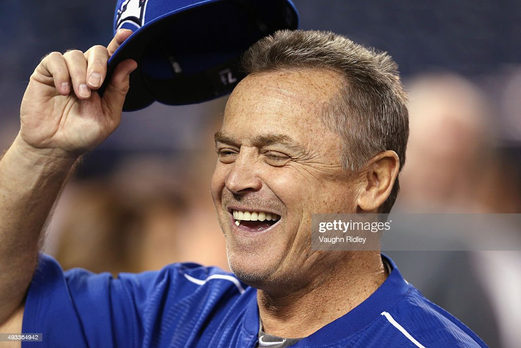 Manager <a gi-track='captionPersonalityLinkClicked' href=/galleries/search?phrase=John+Gibbons&family=editorial&specificpeople=218120 ng-click='$event.stopPropagation()'>John Gibbons</a> #5 of the Toronto Blue Jays reacts prior to game three of the American League Championship Series between the Toronto Blue Jays and the Kansas City Royals at Rogers Centre on October 19, 2015 in Toronto, Canada.