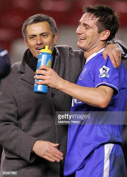 Manager Jose Mourinho and Frank Lampard of Chelsea celebrate at the final whistle of the Carling Cup semifinal second leg between Manchester United...