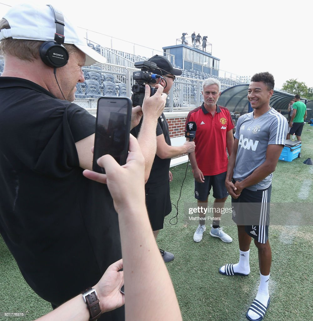 Manager Jose Mourinho and Jesse Lingard of Manchester United are interviewed ahead of a first team training session as part of their pre-season tour of the USA at Shaw Field on July 24, 2017 in Washington, DC.