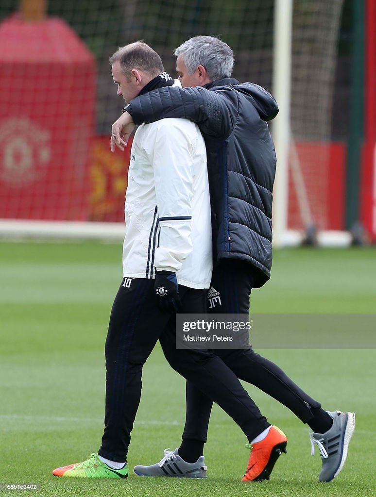 Manager Jose Mourinho and Wayne Rooney of Manchester United in action during a first team training session at Aon Training Complex on May 19, 2017 in Manchester, England.