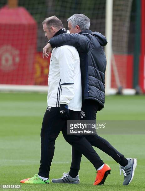 Manager Jose Mourinho and Wayne Rooney of Manchester United in action during a first team training session at Aon Training Complex on May 19 2017 in...
