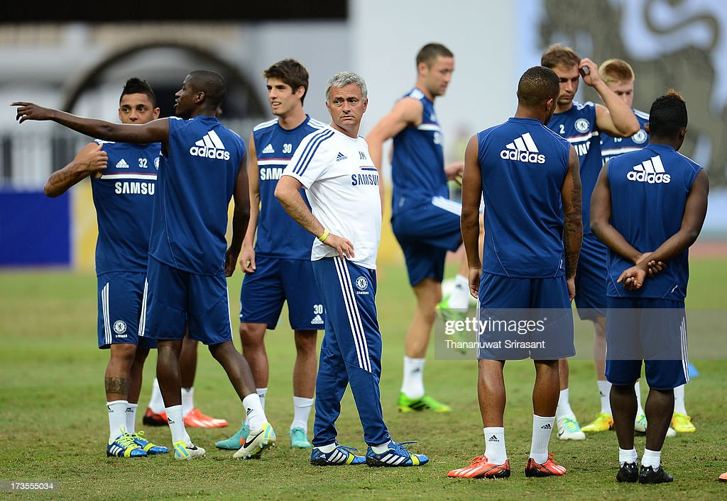 Manager Jose Mourinho during a Chelsea FC training session at Rajamangala Stadium on July 16, 2013 in Bangkok, Thailand.