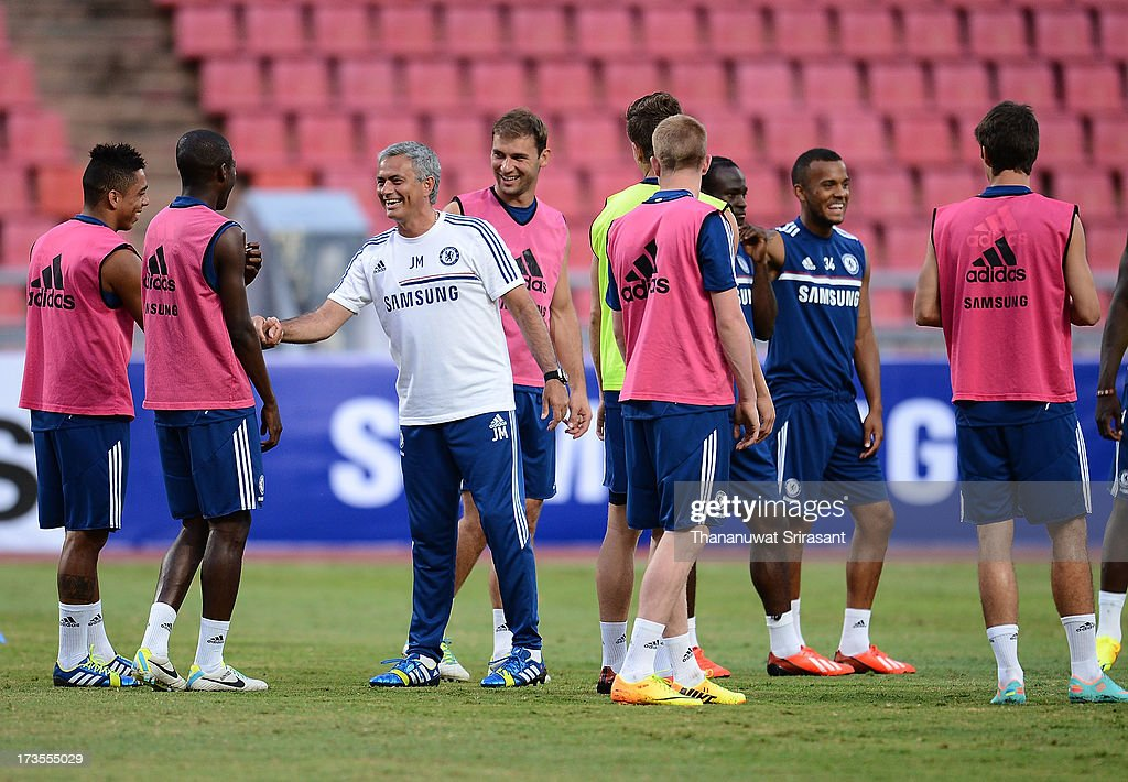 Manager Jose Mourinho laughs during a Chelsea FC training session at Rajamangala Stadium on July 16, 2013 in Bangkok, Thailand.
