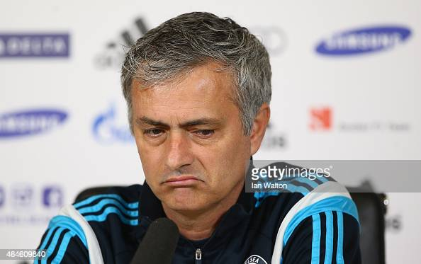 Manager Jose Mourinho of Chelsea attends a Chelsea Press Conference at Chelsea Training Ground on February 27 2015 in Cobham England