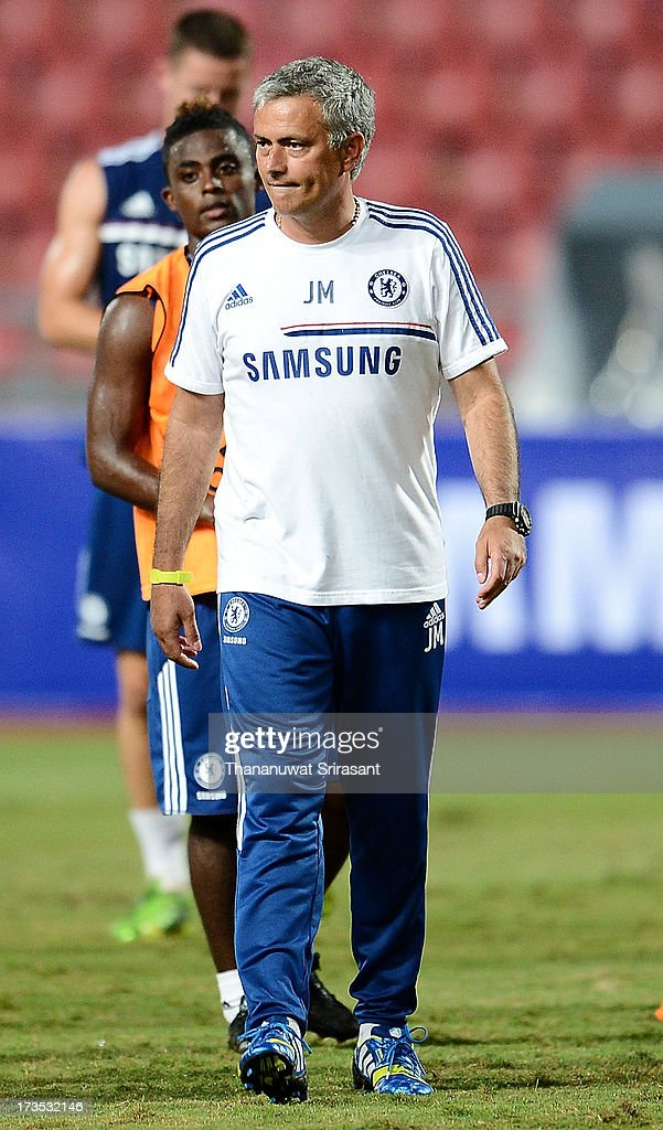 Manager Jose Mourinho of Chelsea FC during a Chelsea FC training session at Rajamangala Stadium on July 16, 2013 in Bangkok, Thailand.