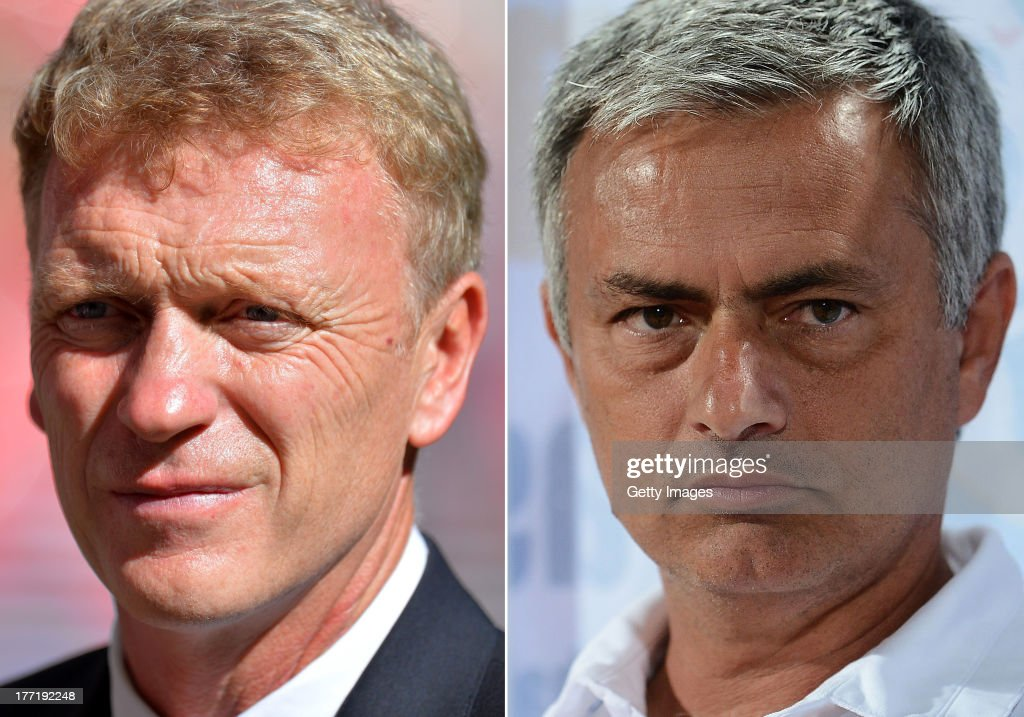 IMAGES - Image Numbers 175989085 (L) and 173766738) In this composite image a comparison has been made between <a gi-track='captionPersonalityLinkClicked' href=/galleries/search?phrase=David+Moyes&family=editorial&specificpeople=215482 ng-click='$event.stopPropagation()'>David Moyes</a>, Manager of Manchester United (L) and Jose Mourinho, Manager of Chelsea. Premiership title favorites Manchester United and Chelsea meet at Old Trafford, Manchester on August 26, 2013. BANGKOK, THAILAND - JULY 17: Manager Jose Mourinho of Chelsea FC during the international friendly match between Chelsea FC and the Singha Thailand All-Star XI on July 17, 2013 in Bangkok, Thailand.