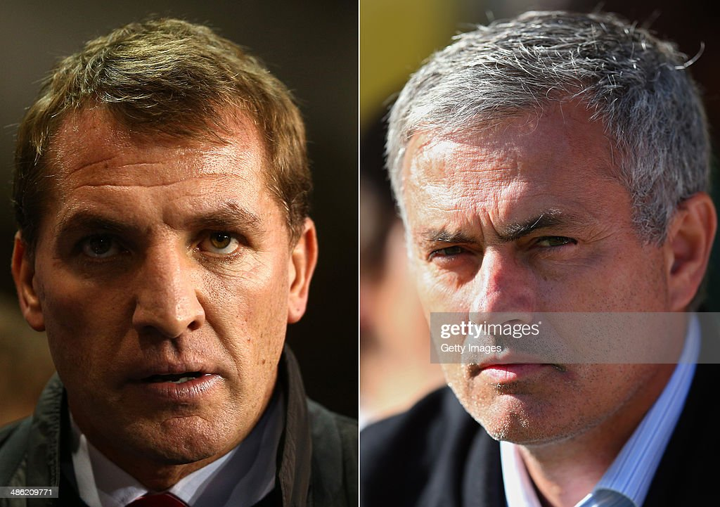 IMAGES - Image Numbers 456837437 (L) and 183386392) In this composite image a comparison has been made between <a gi-track='captionPersonalityLinkClicked' href=/galleries/search?phrase=Brendan+Rodgers+-+Soccer+Manager&family=editorial&specificpeople=5446684 ng-click='$event.stopPropagation()'>Brendan Rodgers</a> ,manager of Liverpool (L) and Chelsea manager Jose Mourinho. The top two teams in the Premier League meet in a league match on April 27, 2014 at Anfield in Liverpool,England. NORWICH, ENGLAND - OCTOBER 06: Manager Jose Mourinho of Chelsea looks on ahead of the Barclays Premier League match between Norwich City and Chelsea at Carrow Road on October 6, 2013 in Norwich, England.
