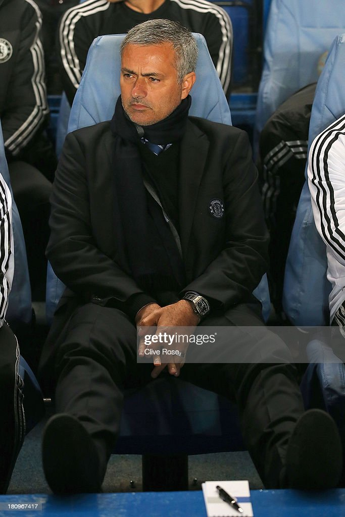 Manager Jose Mourinho of Chelsea looks on during the UEFA Champions League Group E Match between Chelsea and FC Basel at Stamford Bridge on September 18, 2013 in London, England.