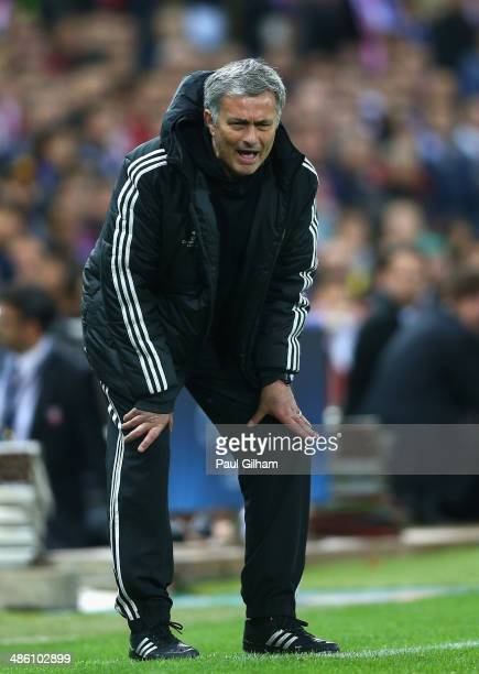 Manager Jose Mourinho of Chelsea shouts from the dug out during the UEFA Champions League Semi Final first leg match between Club Atletico de Madrid...