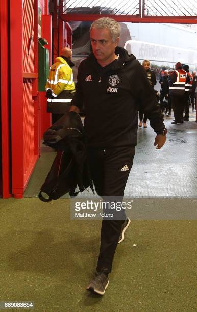 Manager Jose Mourinho of Manchester United arrives ahead of the Premier League match between Manchester United and Chelsea at Old Trafford on April...