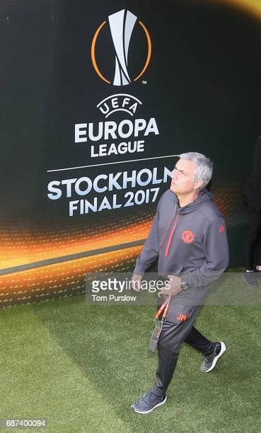 Manager Jose Mourinho of Manchester United arrives for a walk on the pitch ahead of the UEFA Europa League Final at Friends Arena on May 23 2017 in...