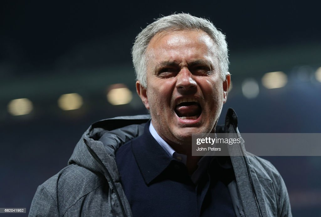 Manager Jose Mourinho of Manchester United celebrates after the UEFA Europa League, semi final second leg match, between Manchester United and Celta Vigo at Old Trafford on May 11, 2017 in Manchester, United Kingdom.