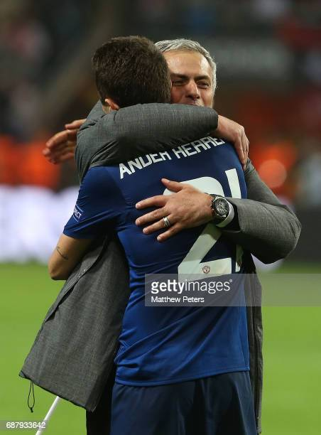 Manager Jose Mourinho of Manchester United celebrates with Ander Herrera after the UEFA Europa League Final match between Manchester United and Ajax...
