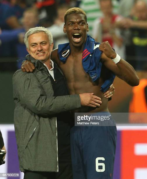 Manager Jose Mourinho of Manchester United celebrates with Paul Pogba after the UEFA Europa League Final match between Manchester United and Ajax at...