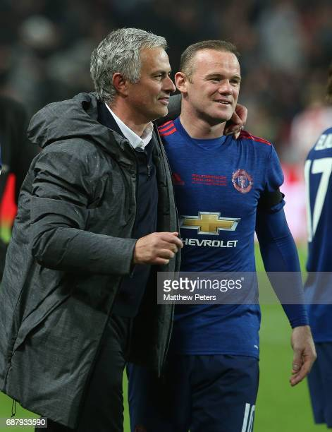 Manager Jose Mourinho of Manchester United celebrates with Wayne Rooney after the UEFA Europa League Final match between Manchester United and Ajax...