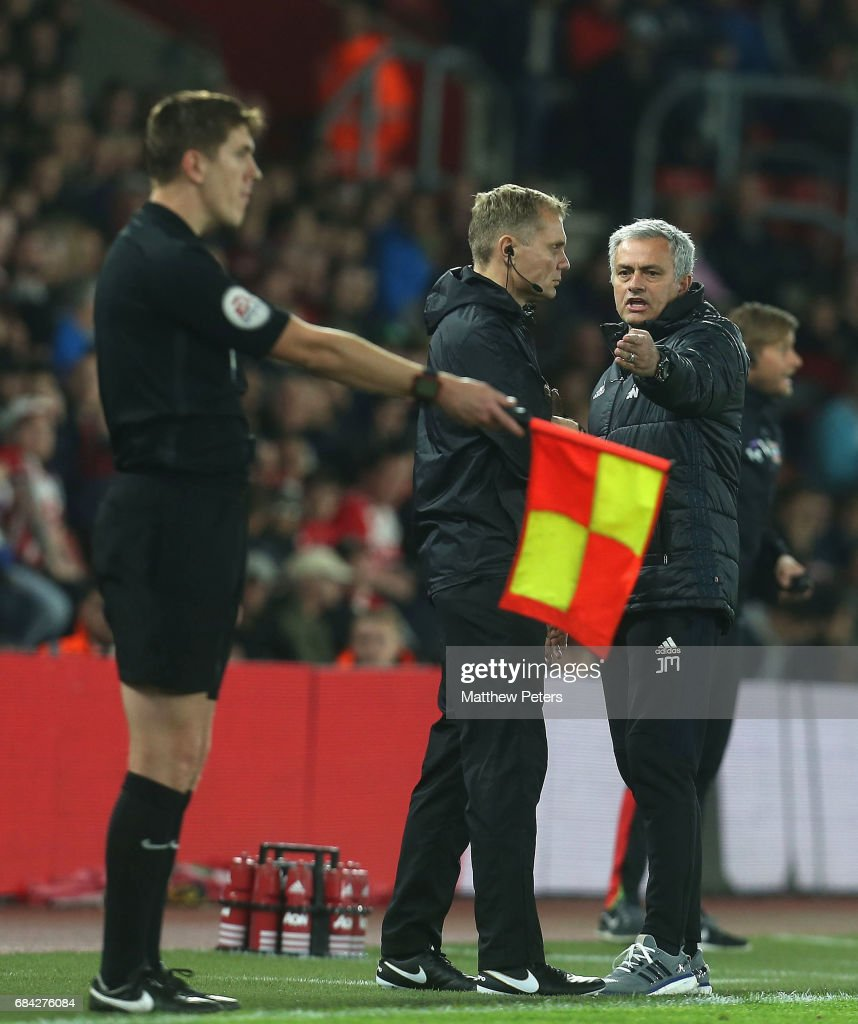 Manager Jose Mourinho of Manchester United complains to the fourth official during the Premier League match between Southampton and Manchester United at St Mary's Stadium on May 17, 2017 in Southampton, England.