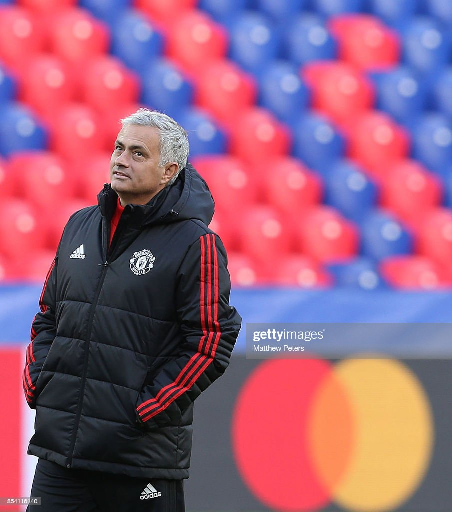 Manager Jose Mourinho of Manchester United in action during a training session ahead of their UEFA Champions League match against CSKA Moscow at VEB Arena on September 26, 2017 in Moscow, Russia.