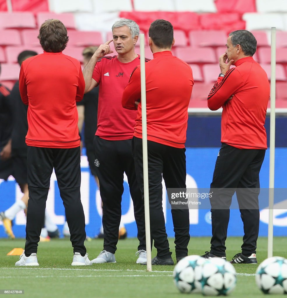 Manager Jose Mourinho of Manchester United in action during a training session ahead of their UEFA Champions League match against Benfica on October 17, 2017 in Lisbon, Portugal.