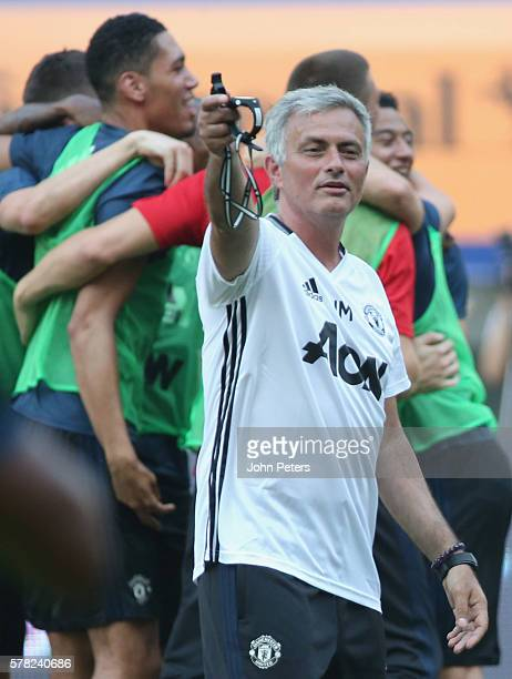 Manager Jose Mourinho of Manchester United in action during a first team training session as part of their preseason tour of China at Shanghai...