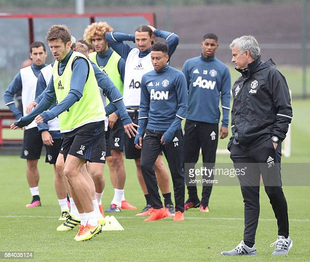 Manager Jose Mourinho of Manchester United in action during a first team training session at Aon Training Complex on July 28 2016 in Manchester...