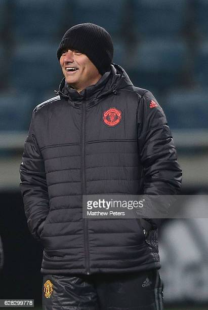 Manager Jose Mourinho of Manchester United in action during a first team training session at Central Stadium Chernomorets on December 7 2016 in...