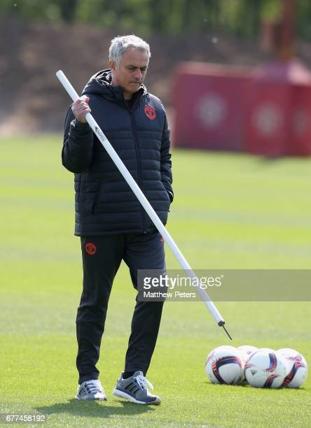 Manager Jose Mourinho of Manchester United in action during a first team training session at Aon Training Complex on May 3 2017 in Manchester England