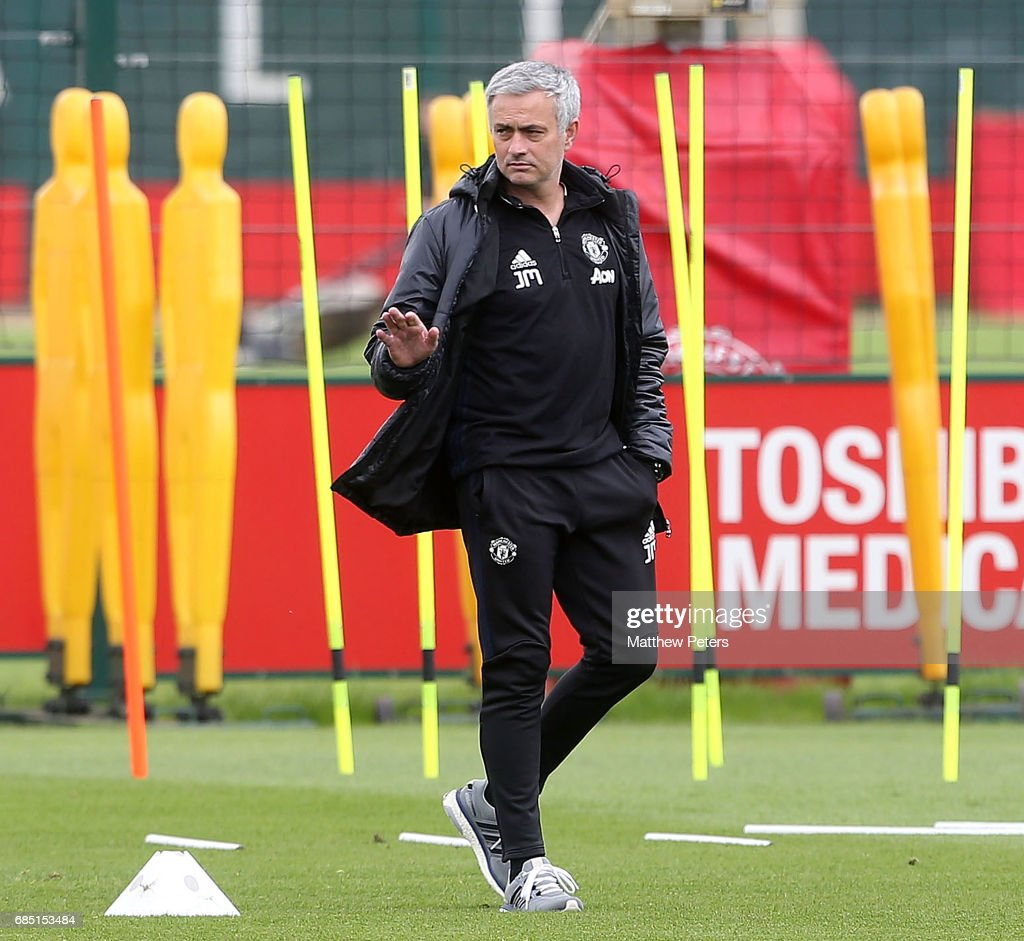 Manager Jose Mourinho of Manchester United in action during a first team training session at Aon Training Complex on May 19, 2017 in Manchester, England.
