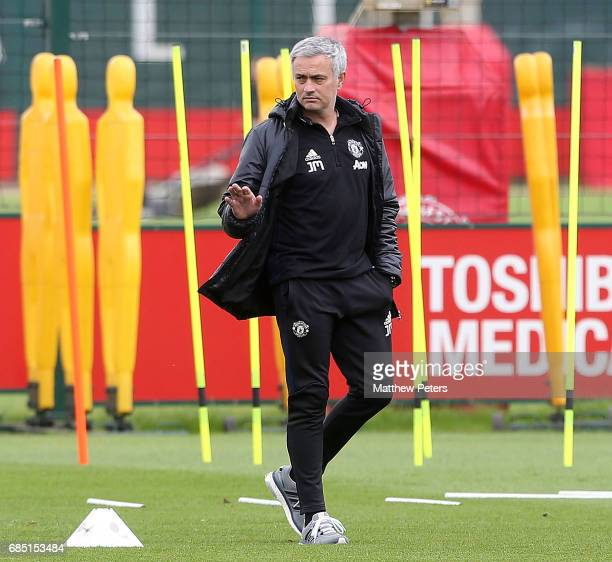 Manager Jose Mourinho of Manchester United in action during a first team training session at Aon Training Complex on May 19 2017 in Manchester England