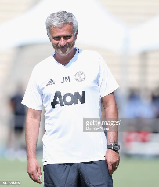 Manager Jose Mourinho of Manchester United in action during a first team training session as part of the club's preseason tour of the USA at UCLA on...