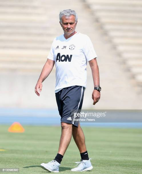 Manager Jose Mourinho of Manchester United in action during a first team training session as part of their preseason tour of the USA at UCLA on July...