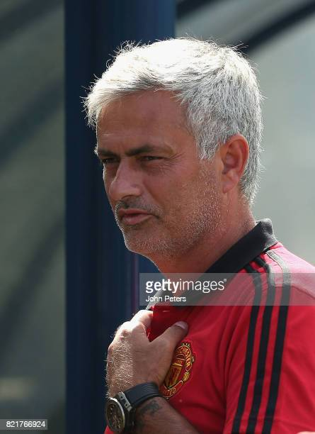 Manager Jose Mourinho of Manchester United in action during a first team training session as part of their preseason tour of the USA at Shaw Field on...